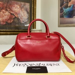 YSL Calf Skin Leather Red Boston Bag 💼
